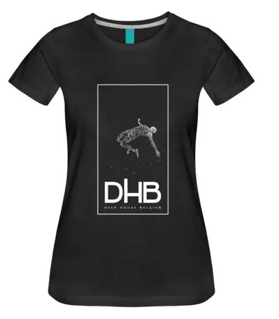 T-shirt black ladies logo DHB front